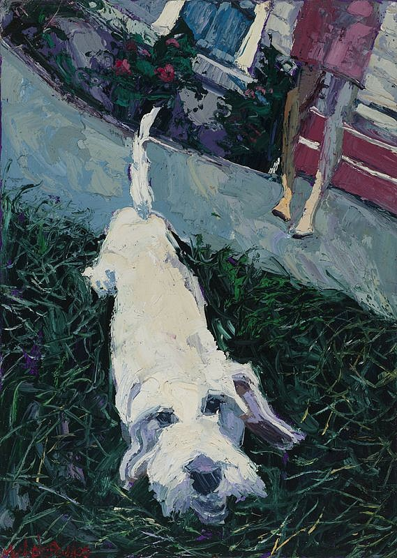 James Michalopoulos ,   New Leash on Life      Oil on Canvas ,  27 x 19 in.