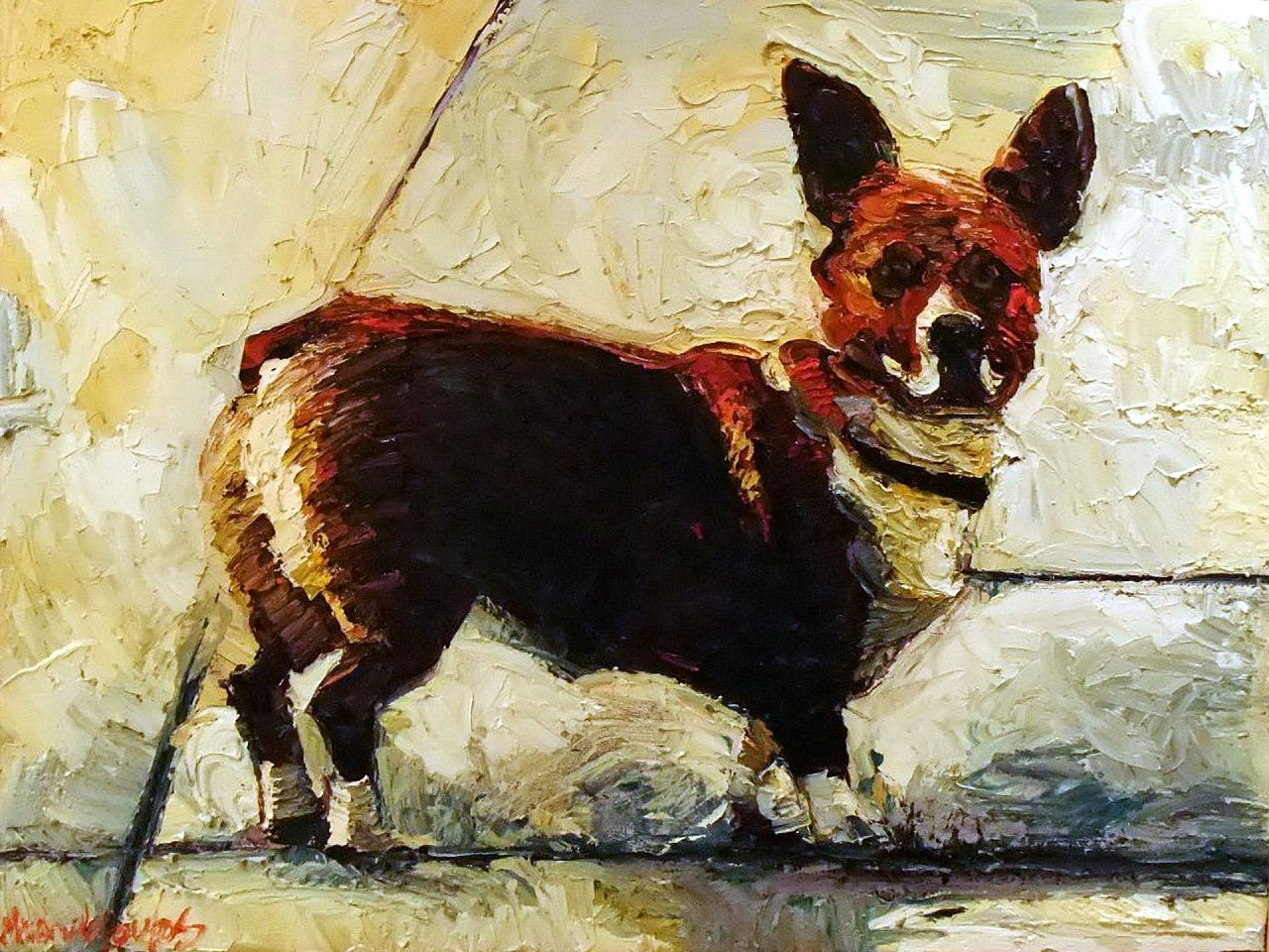 James Michalopoulos ,   Dog Gone      Oil on Canvas ,  40 x 30 in.