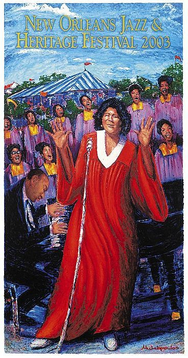 James Michalopoulos ,   2003 Mahalia Jackson Jazz Fest Poster      Print      OPTIONS AVAILABLE: